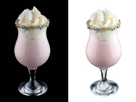 Fruit milk shake on dark and white background 스톡 콘텐츠