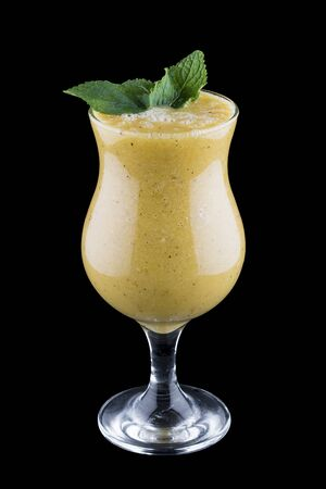 Pear smoothie on dark background 스톡 콘텐츠