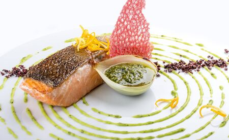 Salmon fillet sous-vide in a decorative setting