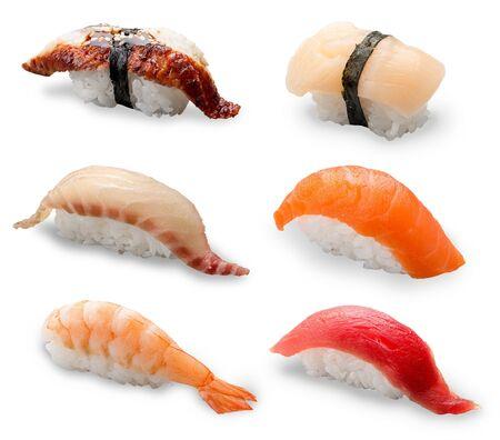 Nigiri Sushi set on a white background Imagens