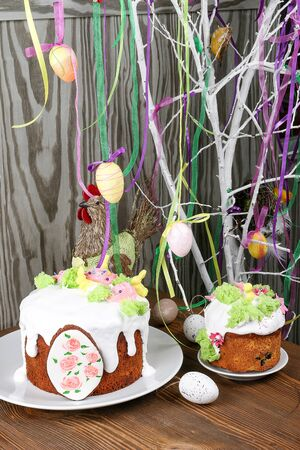 Easter, Easter cake on a dark background with a complex composition, beautiful scenery, dried fruits