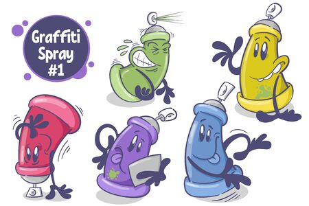 Set of funny cartoon character. Spray paint can. On white background. Vector