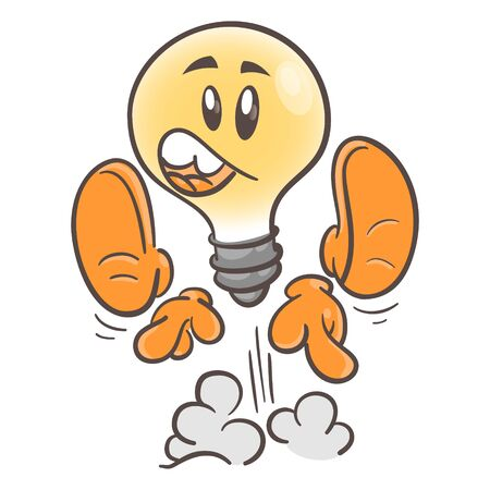 Emotional character cartoon lightbulb. Surprise. On white background 일러스트