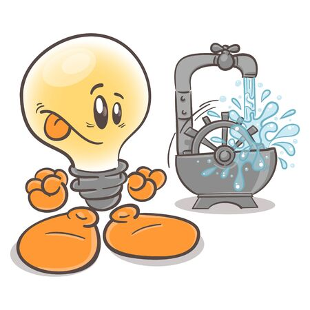Funny character cartoon lightbulb. Water power plant. On white background