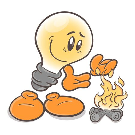 Funny character cartoon lightbulb. Thermal power plant. On white background 일러스트