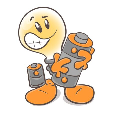 Funny character cartoon lightbulb. Battery charging. On white background