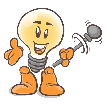 Emotional character cartoon lightbulb. With the rods. On white background