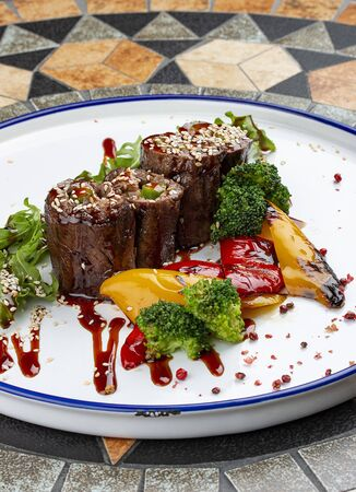 Veal rolls with foie gras and grilled vegetables Stockfoto
