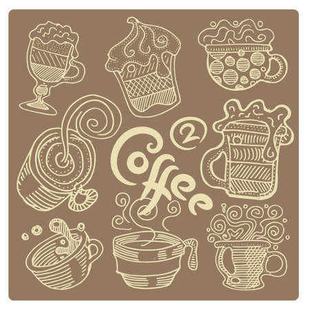 Hand drawn coffee set. Coffee drinks in various cups 矢量图像