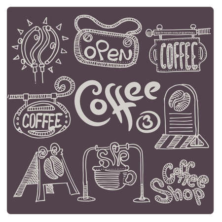Hand drawn coffee set. A variety of signs