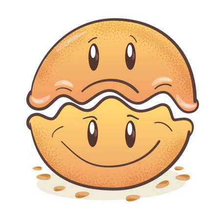 Gyoza - japanese fried dumplings Gyoza. Fun cartoon character. Smiling. On white background. Vector