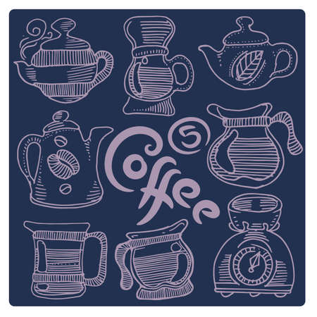 Hand drawn coffee set. A variety of dishes for coffee 矢量图像