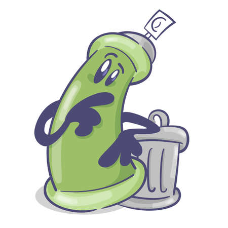 Graffiti spray cartoon character. With trash can. On white background. Vector