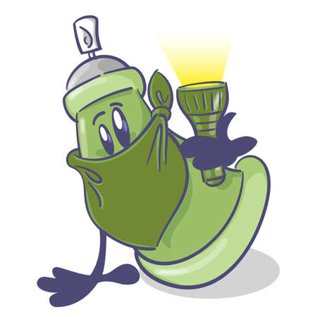 Graffiti spray cartoon character. With a flashlight. On white background. Vector