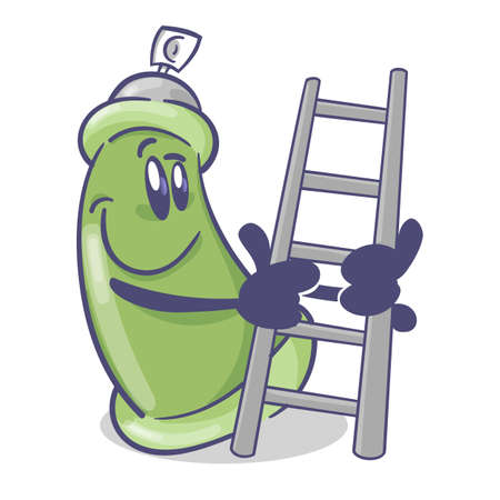Graffiti spray cartoon character. With stairs. On white background. Vector 矢量图像