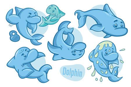 Set of hand drawn cartoon dolphins. Sea life illustration. Vector.