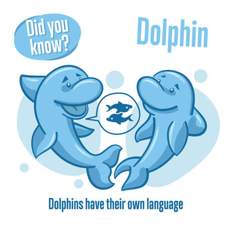 Interesting facts about sea animals. Dolphin. Did you know? 矢量图像
