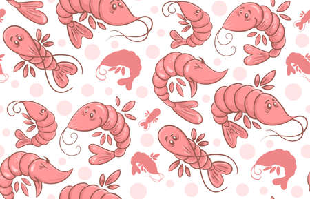 Seamless pattern from cartoon shrimps isolated on white background 矢量图像