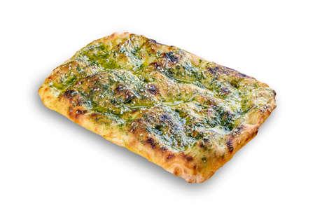 Italian focaccia bread with pesto, sesame seeds and parmesan. Roman pizza rectangular on white background
