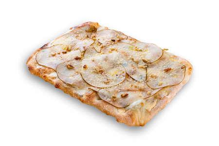 Pizza Gorgonzola with pear, mozzarella, walnuts, parmesan, syringa sauce, truffle oil. Roman pizza rectangular on white background Фото со стока
