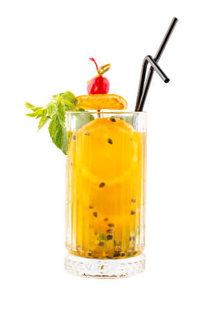 Lemonade with orange and passion fruit on a white background. Isolated Фото со стока