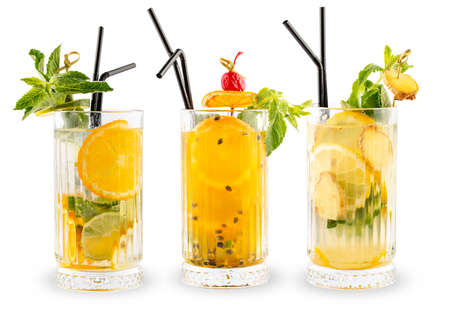 A set of summer cold drinks in glasses. On a white background Фото со стока