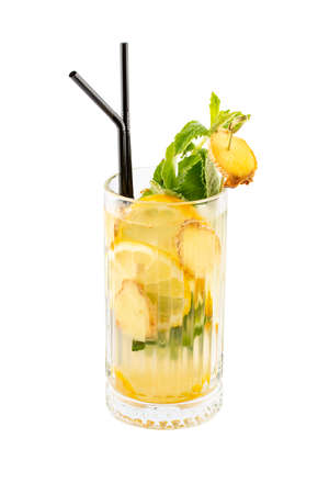 Lemonade with lemon and ginger on a white background. Isolated