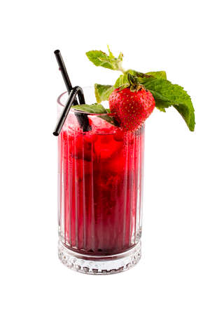 Lemonade with strawberries and mint on a white background. Isolated Фото со стока