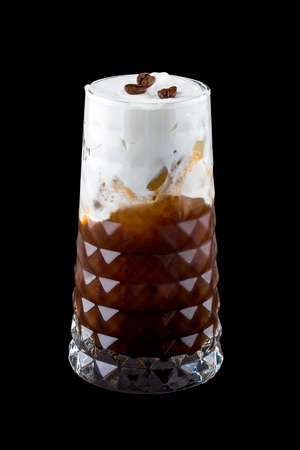Coffee cocktails on a dark background. Cold raf coffee. Isolated Фото со стока