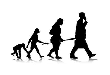 origen animal: Una ilustración abstracta de la evolución humana. Vectores