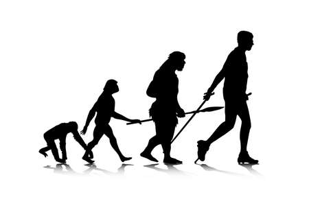nordic walking: An abstract illustration of human evolution.
