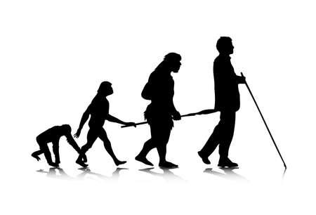 prehistoric human: An abstract, metaphoric illustration of human future. Illustration