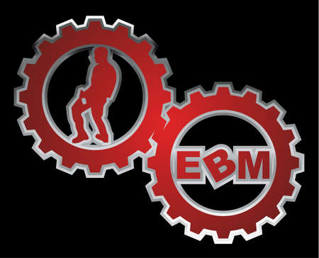 "Two gears with a male dancer and the text ""EBM"" inside."