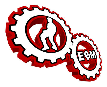 """Two gears with a male dancer and the text """"EBM"""" inside. Stock Vector - 6758442"""