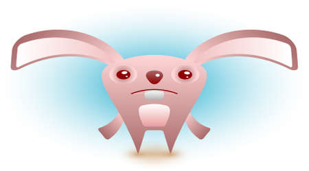 A cute sad easter bunny is looking for his eggs. Stock Vector - 6758438