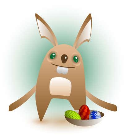 Un coniglietto di Pasqua sorridente carino presenta sua tre uova in una ciotola.