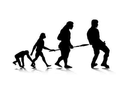 silueta mono: Una ilustraci�n abstracta de la evoluci�n humana.
