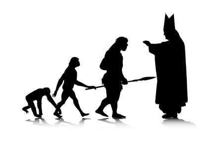silueta mono: Una ilustraci�n abstracta de creaci�nevoluci�n humana.  Vectores