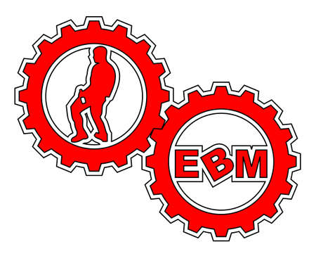 "Two gears with a male dancer and the text ""EBM"" inside. Stock Vector - 6828364"