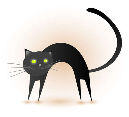 A cute black cat, ready for rubbing itself against some legs. Stock Vector - 8090316