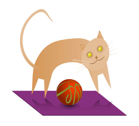 doormat: A cute cinnamon cat, playing with a ball. Illustration