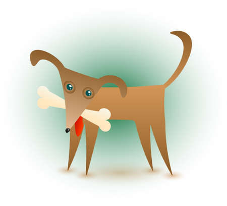 A cute brown dog with a bone in his mouth. Stock Vector - 8090318