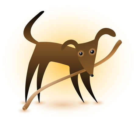 A cute dark brown dog with a stick in his mouth. Illustration