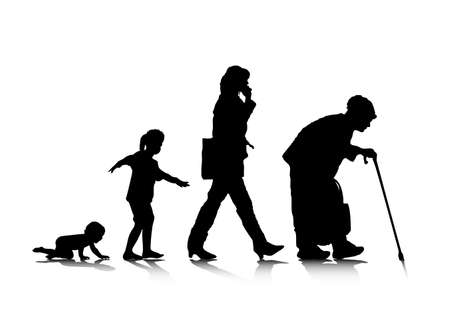 An abstract illustration of human aging. Vector