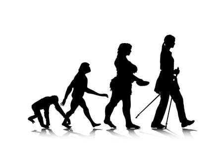 neanderthal: An abstract illustration of human evolution.