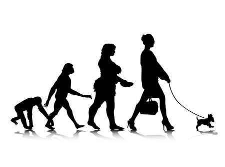 origen animal: Una ilustración abstracta de la evolución humana.