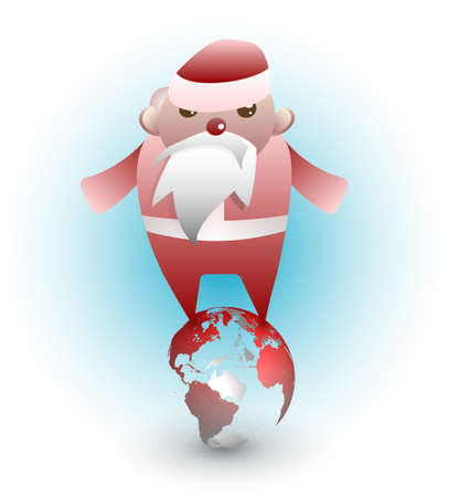 A busy, stressed Santa Claus connects people around the world. Stock Vector - 9189380