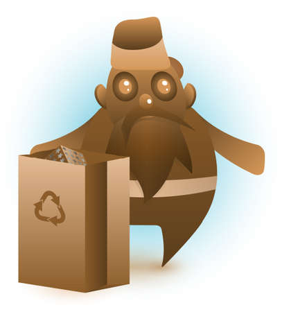 Santa Claus made of chocolate stands behind a recyclable paper bag, containing some presents. Vector