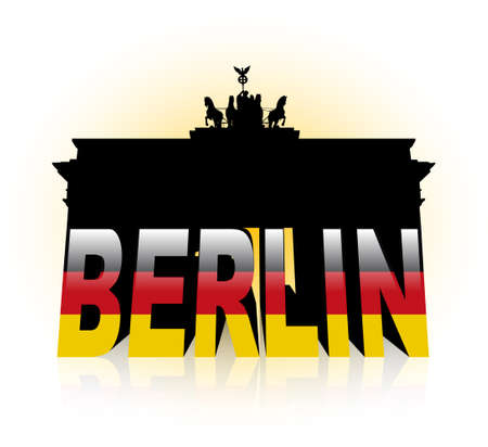 """An abstract vector illustration of the Brandenburg Gate, combined with the word """"Berlin"""" and the flag of Germany. Vector"""