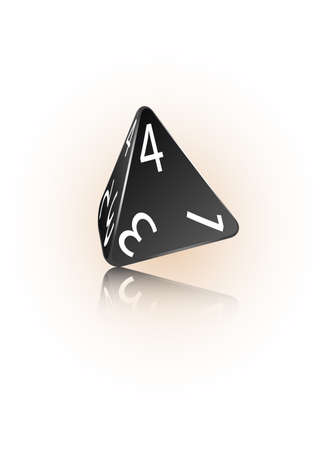 An abstract vector illustration of a 4-sided die.